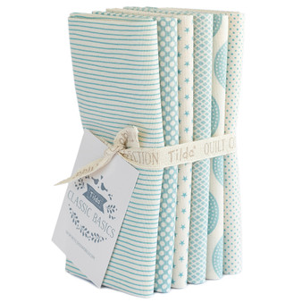 TILDA CLASSIC BASICS in Light Blue, Fat Quarter Bundle of 6 Fabrics - Elegante Virgule Canada, Canadian Quilt Shop, Quilting Cotton