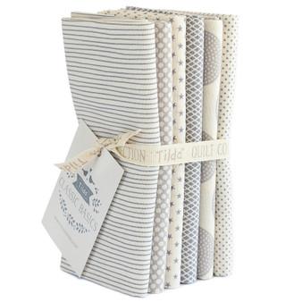 TILDA CLASSIC BASICS in Grey, Fat Quarter Bundle of 6 Fabrics - Elegante Virgule Canada, Canadian Quilt Shop, Quilting Cotton