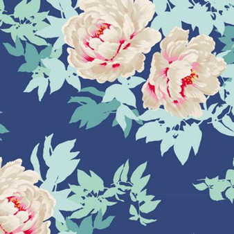 TILDA - SUNKISS Beach Peony Blue 100% Quilting Cotton, Per Half-Meter
