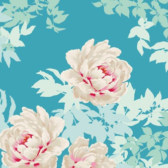 TILDA - SUNKISS Beach Peony Teal 100% Quilting Cotton, Per Half-Meter