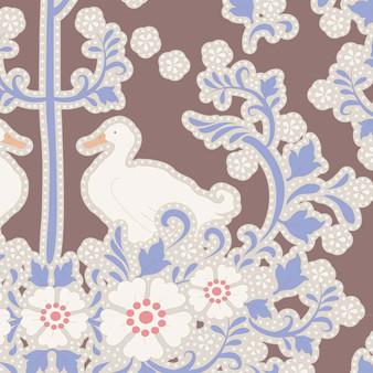 TILDA Plum Garden, Duck Nest in Nutmeg, 100% Cotton. Elegante Virgule Canada