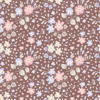 TILDA Plum Garden, Flower Confetti in Nutmeg, 100% Cotton. Elegante Virgule Canada