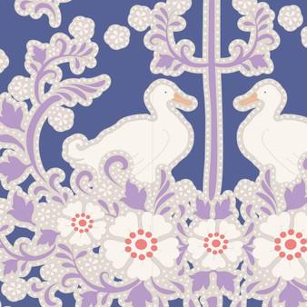 TILDA Plum Garden, Duck Nest in Blueberry, 100% Cotton, Per Half-Meter, Elegante Virgule Canada