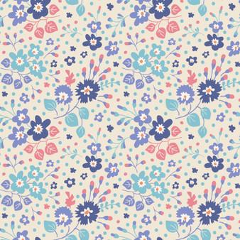 TILDA Plum Garden, Teardrop in Blueberry, 100% Cotton. Elegante Virgule Canada