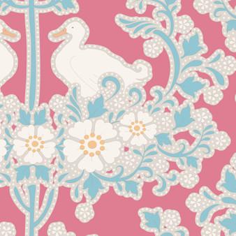TILDA Plum Garden, Duck Nest in Peach, 100% Cotton, Per Half-Meter, Elegante Virgule Canada