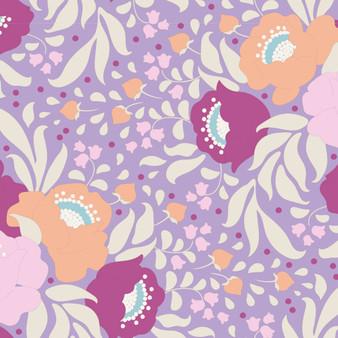 TILDA Plum Garden, Autumn Bouquet in Lavender, 100% Cotton. Elegante Virgule Canada