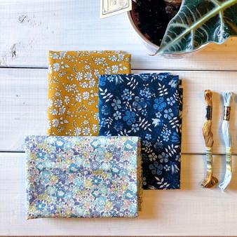 LIBERTY Bundle of 3 Fabrics, MICHELLE CAPEL - Fat Eight 13 x 19 inches (34 x 49 cm)