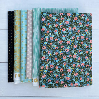 DARK GARDEN, Bundle of 6 Fabrics - FQ or Half-Meter, Elegante Virgule, Canadian Fabric Online Shop