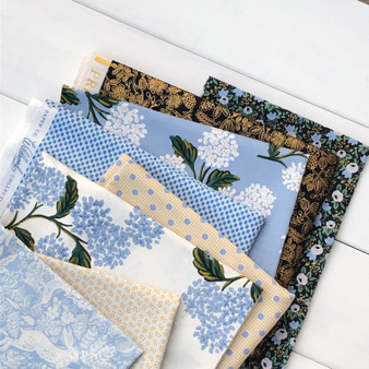 BLUE GARDEN,  RIFLE PAPER CO x TILDA - Bundle of 8 Fabrics - FQ or Half-Meter, Elegante Virgule, Canadian Fabric Online Shop