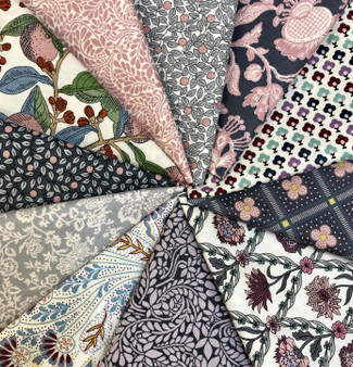 LIBERTY Bundle of 11 Fabrics, SUMMER HOUSE Pink and Gray - Elegante Virgule, Canadian Fabric Shop