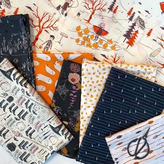 HALLOWEEN SPOOKY N SWEET, Bundle of 8 fabrics - ELEGANTE VIRGULE, Canadian Fabric Shop
