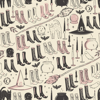 AGF ART GALLERY FABRIC - SPOOKY 'N SWEET, Witch's Wardrobe - by the half-meter, ELEGANTE VIRGULE, Canadian Fabric Shop