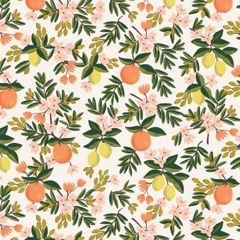 RIFLE PAPER CO, PRIMAVERA Citrus Floral in Cream,  ELEGANTE VIRGULE CANADA, CANADIAN FABRIC SHOP, QUILTING COTTON