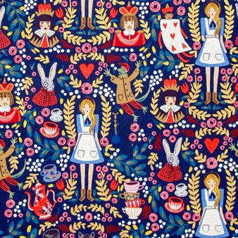 RIFLE PAPER CO, WONDERLAND Alice in Navy,  ELEGANTE VIRGULE, CANADIAN FABRIC SHOP