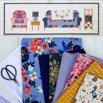 "GET COZY MINI in Rifle Paper Co - Quilt Kit 12"" x 36"" (30 x 90 cm) - Elegante Virgule, Canadian Fabric Shop"