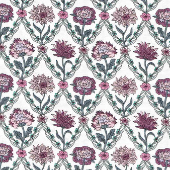 LIBERTY OF LONDON Quilting cotton, Kew Trellis Z in Pink on White, ELEGANTE VIRGULE