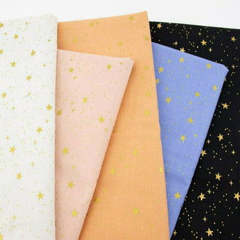 RIFLE PAPER CO, Stars Metallic - Bundle of 5 Fabrics,  ELEGANTE VIRGULE, CANADIAN FABRIC SHOP