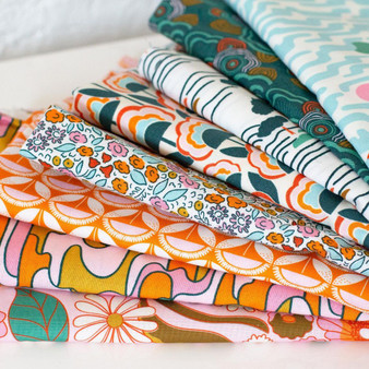 CLOUD 9, Good Vibrations - Bundle of 8 Fabrics ORGANIC Cotton,  ELEGANTE VIRGULE, CANADIAN FABRIC SHOP