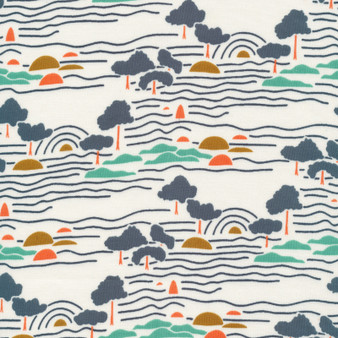 CLOUD 9, GOOD VIBRATIONS - Landline,  100% ORGANIC Cotton - by the half-meter, ELEGANTE VIRGULE, CANADIAN FABRIC SHOP