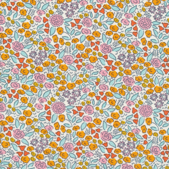 CLOUD 9, GOOD VIBRATIONS - Flowerfield,  100% ORGANIC Cotton - by the half-meter, ELEGANTE VIRGULE, CANADIAN FABRIC SHOP