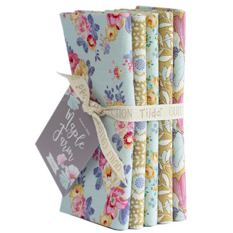 TILDA Maple Farm in DIJON / TEAL, Fat Quarter Bundle of 5 Fabrics - Elegante Virgule Canada