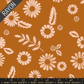 RUBY STAR SOCIETY, GOLDEN HOUR Daisy Rayon in Saddle,  ELEGANTE VIRGULE, CANADIAN FABRIC SHOP