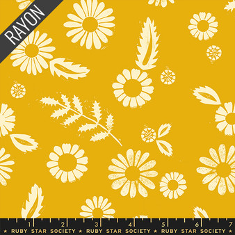 RUBY STAR SOCIETY, GOLDEN HOUR Daisy Rayon in Goldenrod,  ELEGANTE VIRGULE, CANADIAN FABRIC SHOP