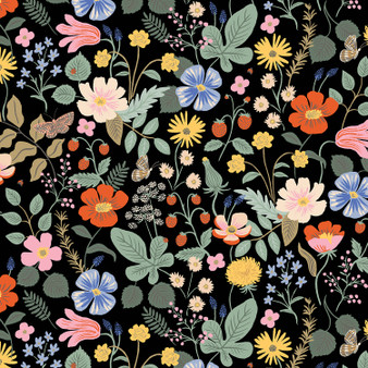 RIFLE PAPER CO, Strawberry Fields MAIN in Black,  ELEGANTE VIRGULE, CANADIAN FABRIC SHOP