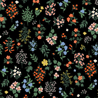 RIFLE PAPER CO, Strawberry Fields HAWTHORNE in Black,  ELEGANTE VIRGULE, CANADIAN FABRIC SHOP