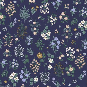 RIFLE PAPER CO, Strawberry Fields HAWTHORNE in Navy,  ELEGANTE VIRGULE, CANADIAN FABRIC SHOP