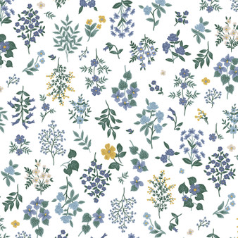 RIFLE PAPER CO, Strawberry Fields HAWTHORNE in Periwinkle,  ELEGANTE VIRGULE, CANADIAN FABRIC SHOP