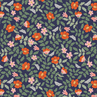 RIFLE PAPER CO, Strawberry Fields PRIMROSE in Navy,  ELEGANTE VIRGULE CANADA, CANADIAN FABRIC SHOP, QUILTING COTTON