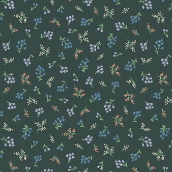 RIFLE PAPER CO, Strawberry Fields PETITES FLEURS in Hunter,  ELEGANTE VIRGULE CANADA, CANADIAN FABRIC SHOP
