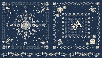 RUBY STAR SOCIETY, Golden Hour BANDANA in Navy - Panel,  ELEGANTE VIRGULE CANADA, CANADIAN FABRIC SHOP