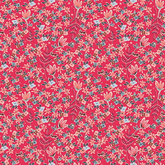 AGF ART GALLERY FABRICS - Charleston GARDEN OF DREAMS Rouge, - by the half-meter, ELEGANTE VIRGULE, Canadian Fabric Shop