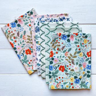 RIFLE PAPER CO, Strawberry Fields MINT & PINK - Bundle of 6 Fabrics,  ELEGANTE VIRGULE CANADA, CANADIAN FABRIC SHOP