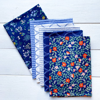 RIFLE PAPER CO, Strawberry Fields NAVY - Bundle of 6 Fabrics,  ELEGANTE VIRGULE CANADA, CANADIAN FABRIC SHOP