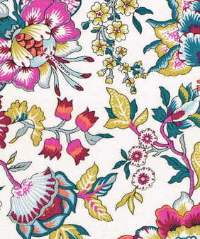 LIBERTY OF LONDON - CHRISTELLE B Multi Red Pink Yellow 100% Cotton Tana Lawn, Per Half-Meter, CANADIAN SHOP. LIBERTY IN CANADA, Elegante Virgule