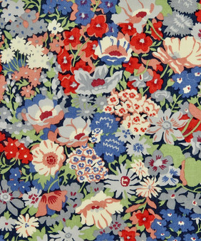 LIBERTY OF LONDON - THORPE K Red and Blue 100% Cotton Tana Lawn, Per Half-Meter, CANADIAN SHOP. LIBERTY IN CANADA, Elegante Virgule