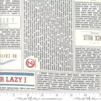 MODA SWEETWATER Branded, RANCHES NEWSPRINT in Cream - ELEGANTE VIRGULE CANADA, CANADIAN FABRIC SHOP, Quilting Cotton