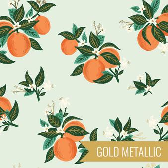 RIFLE PAPER CO, PRIMAVERA Citrus Blossom in Orange Metallic,  ELEGANTE VIRGULE CANADA, CANADIAN FABRIC SHOP, QUILTING COTTON