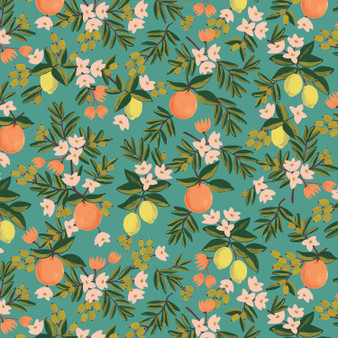 RIFLE PAPER CO, PRIMAVERA Citrus Floral in Teal,  ELEGANTE VIRGULE CANADA, CANADIAN FABRIC SHOP, QUILTING COTTON