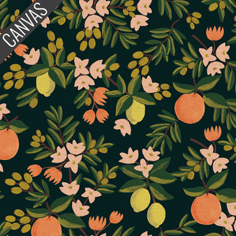RIFLE PAPER CO, PRIMAVERA Citrus Floral in Black Canvas,  ELEGANTE VIRGULE CANADA, CANADIAN FABRIC SHOP, QUILTING COTTON