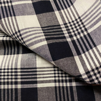 BLACK AND WHITE Madras 100% cotton, Width 60 inches (150 cm), Per Half-Meter, CANADIAN SHOP.  Elegante Virgule Canada, Quilting Cotton