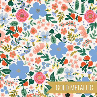 RIFLE PAPER CO, PRIMAVERA Wild Rose in Cream Metallic -  ELEGANTE VIRGULE CANADA, CANADIAN FABRIC SHOP, Quilting Cotton