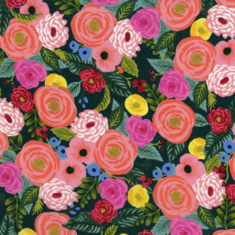 RIFLE PAPER CO,  English Garden JULIET ROSE in Navy 100% RAYON,  ELEGANTE VIRGULE CANADA, CANADIAN FABRIC SHOP, Quilting Shop