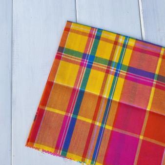 GUAVA Madras 100% cotton, Width 60 inches (150 cm), Per Half-Meter, CANADIAN SHOP.  Elegante Virgule Canada, Quilt Shop