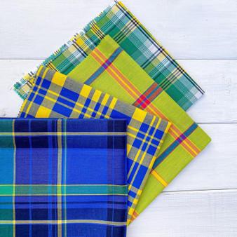 JUNGLE MADRAS Fat Quarter Bundle, 7 pieces, 100% cotton, 20x20 inches (50x50 cm). Canadian Fabric Shop. Montreal QUEBEC Canada, Elegante Virgule , QUILT SHOP