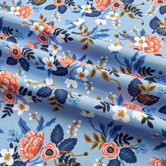 RIFLE PAPER CO, Les Fleurs BIRCH in Periwinkle - ELEGANTE VIRGULE CANADA, CANADIAN FABRIC SHOP, Quilting Cotton