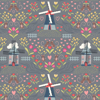 LEWIS & IRENE, TULIP FIELDS Windmills in Light slate - by the half-meter, ELEGANTE VIRGULE CANADA, Canadian Quilt Fabric Shop, Quilting Cotton